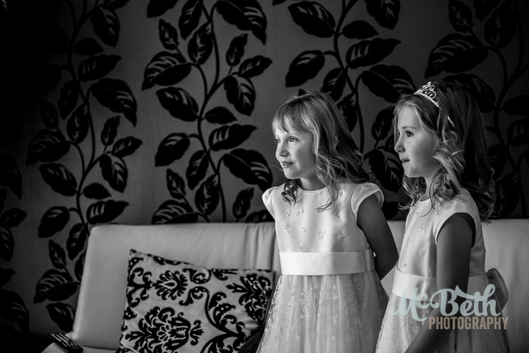 beautiful black and white photo of flower girls