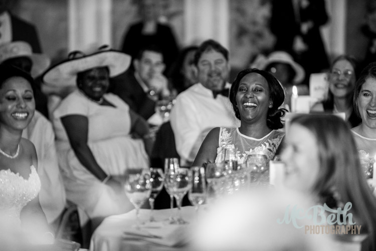 laughing wedding guest at Edinburgh wedding