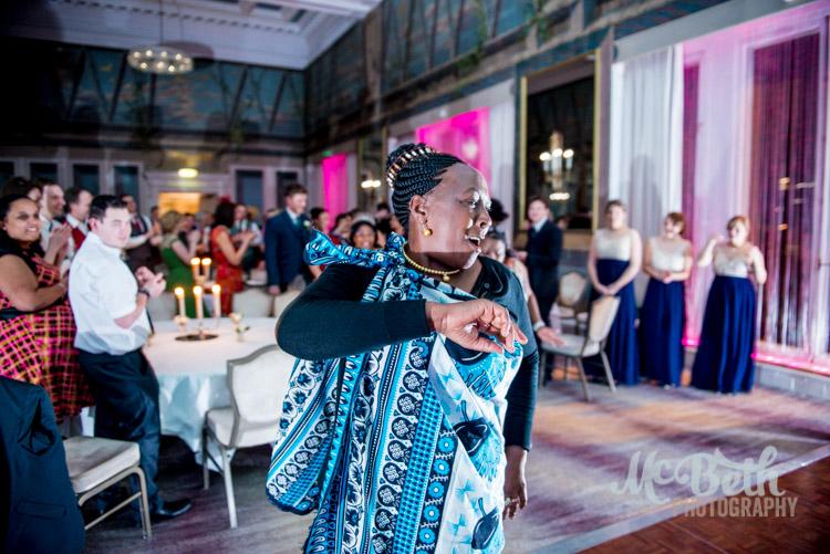 kenyan dancing at Edinburgh wedding