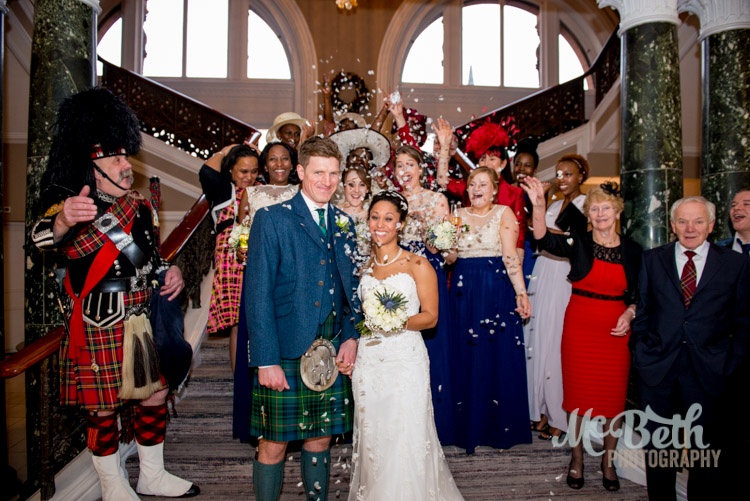 confetti at Edinburgh caledonian wedding