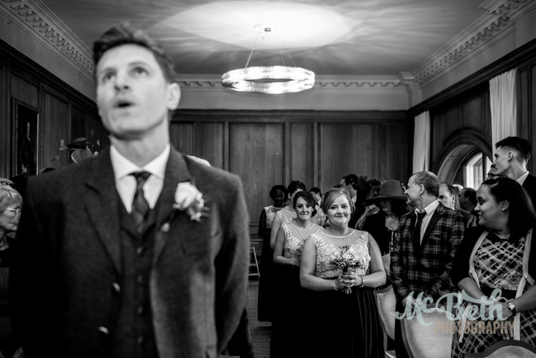 Nervous groom at Edinburgh wedding
